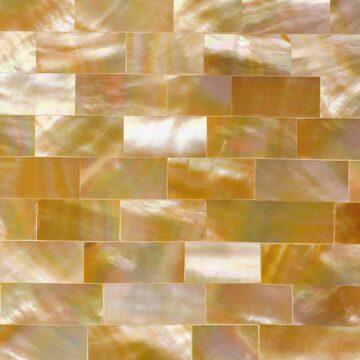 Golden Mother of Pearl (Large Brick) Muschel gold weiss beige braun